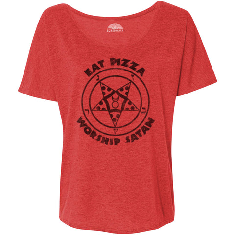 Women's Eat Pizza Worship Satan Scoop Neck T-Shirt