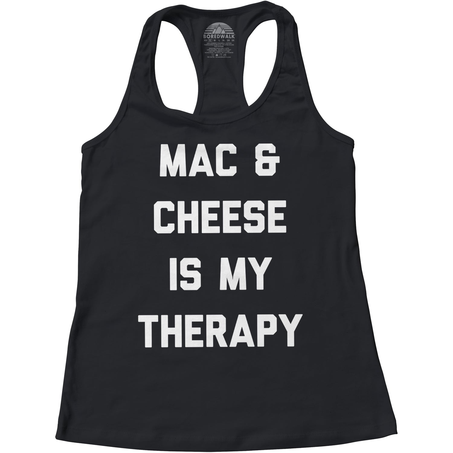 Women's Mac and Cheese Is My Therapy Racerback Tank Top