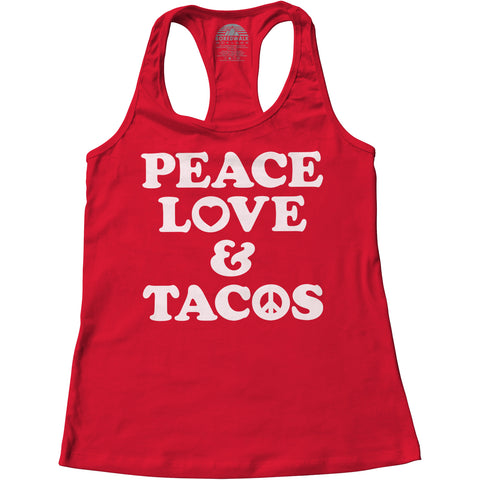 Women's Peace Love and Tacos Racerback Tank Top