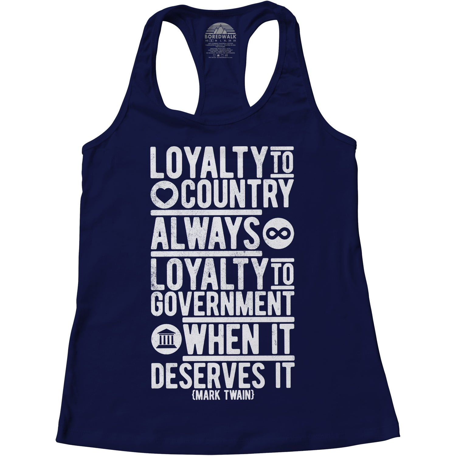 Women's Loyalty to Country Always Loyalty to Government When It Deserves It Mark Twain Quote Racerback Tank Top