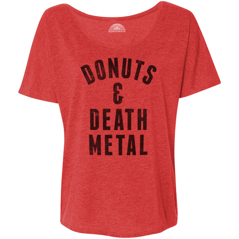 Women's Donuts and Death Metal Scoop Neck T-Shirt