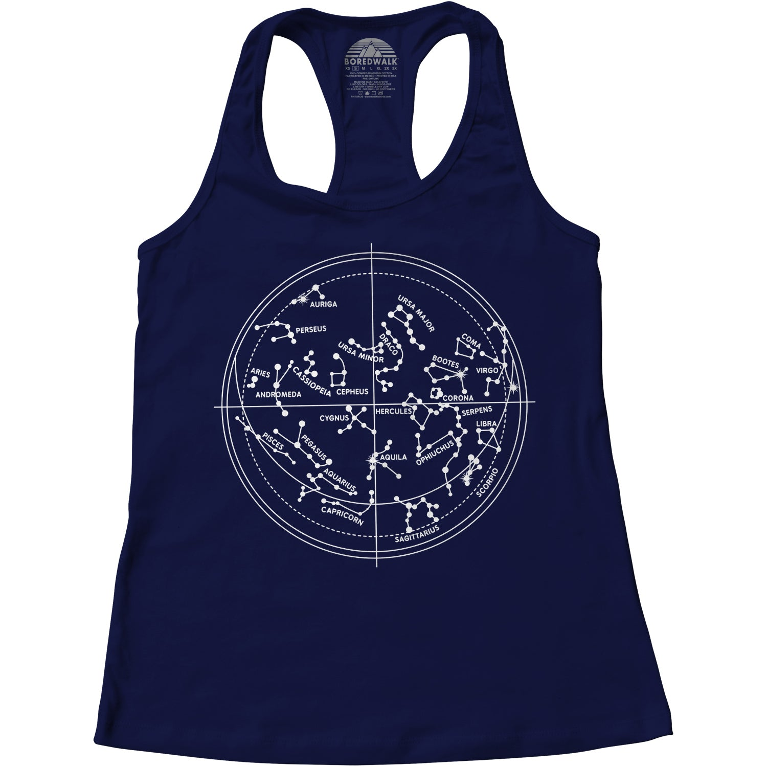 Women's Constellation Map Astronomy Constellation Chart Racerback Tank Top