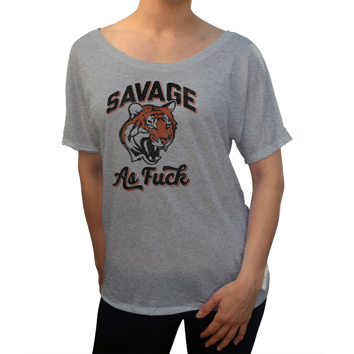 Women's Savage as Fuck Tiger Scoop Neck T-Shirt