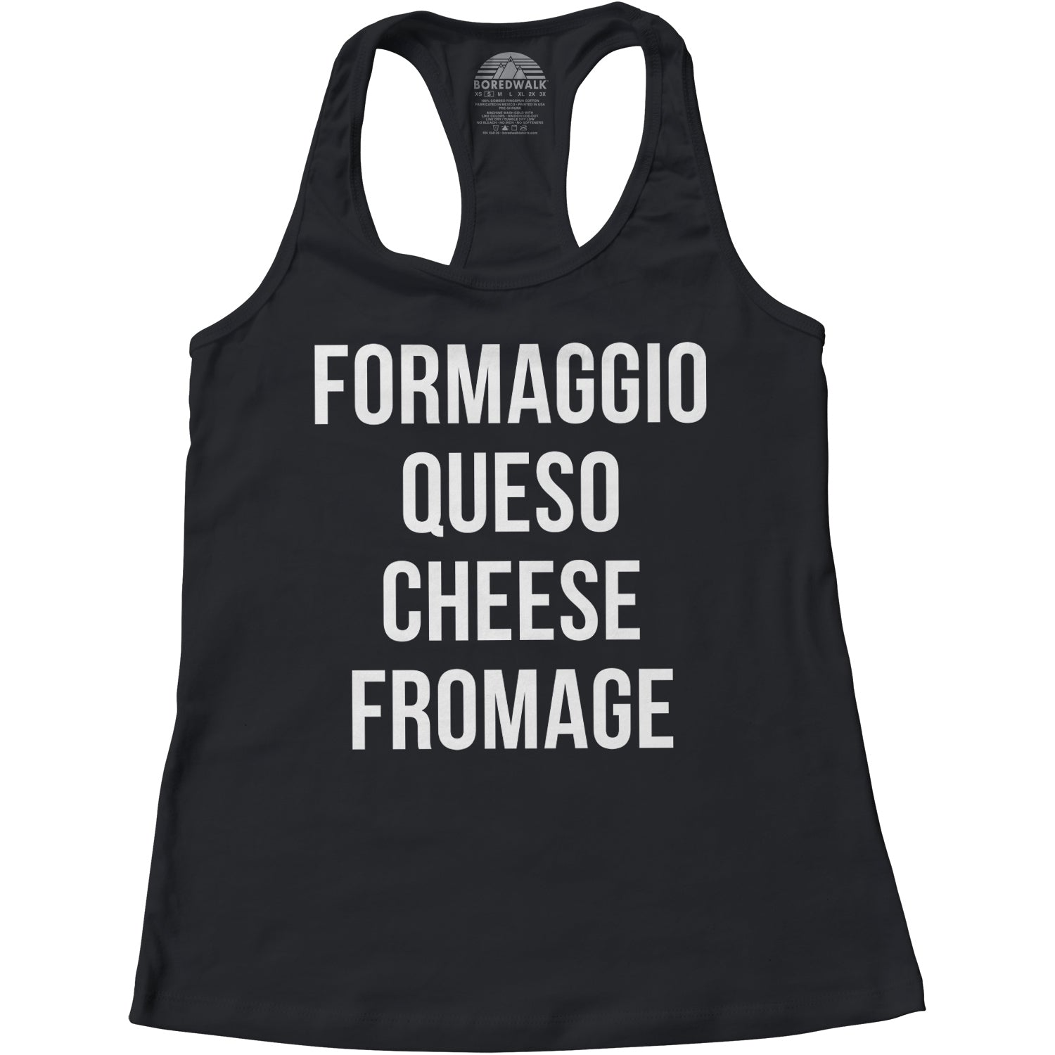 Women's Formaggio Queso Cheese Fromage Racerback Tank Top