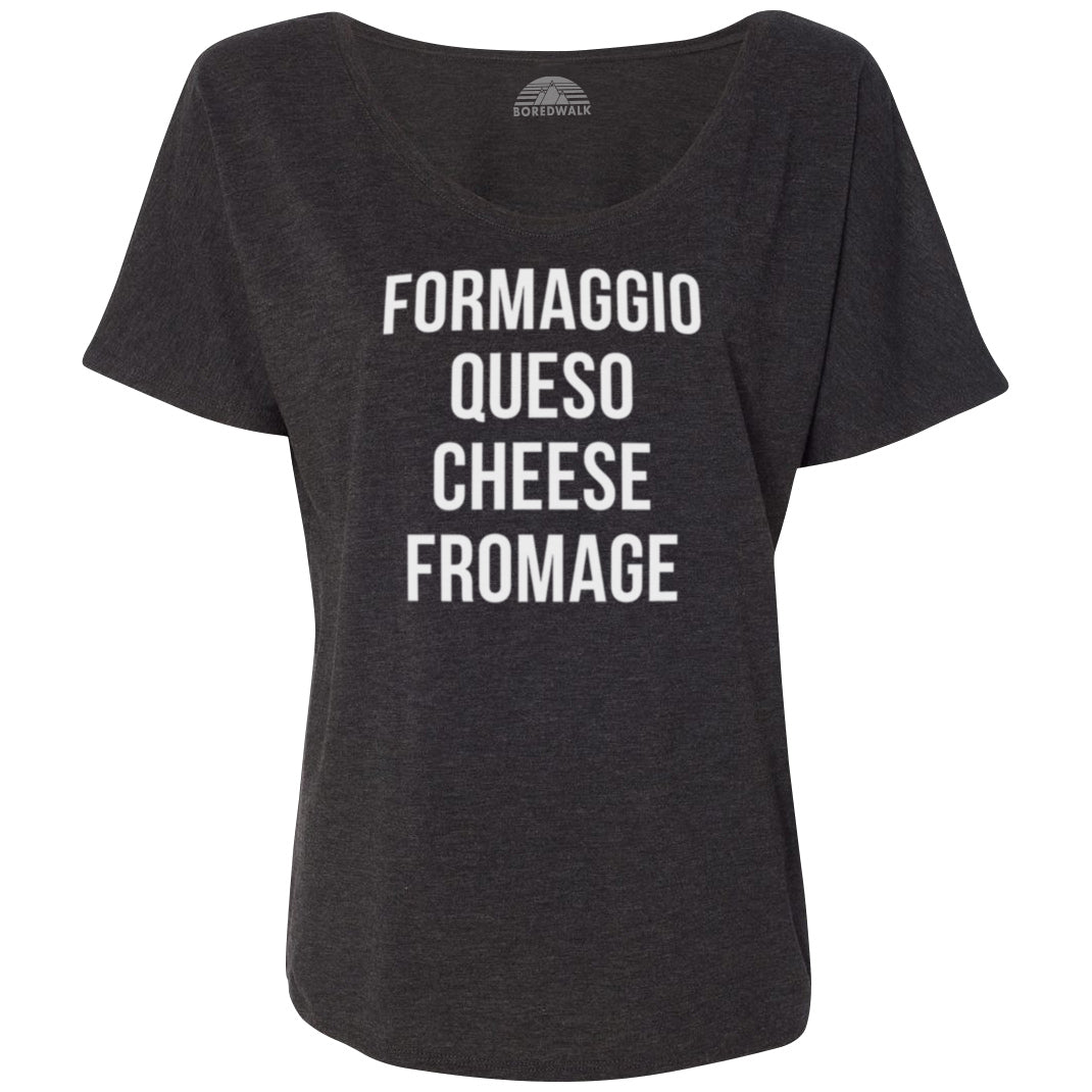 Women's Formaggio Queso Cheese Fromage Scoop Neck T-Shirt