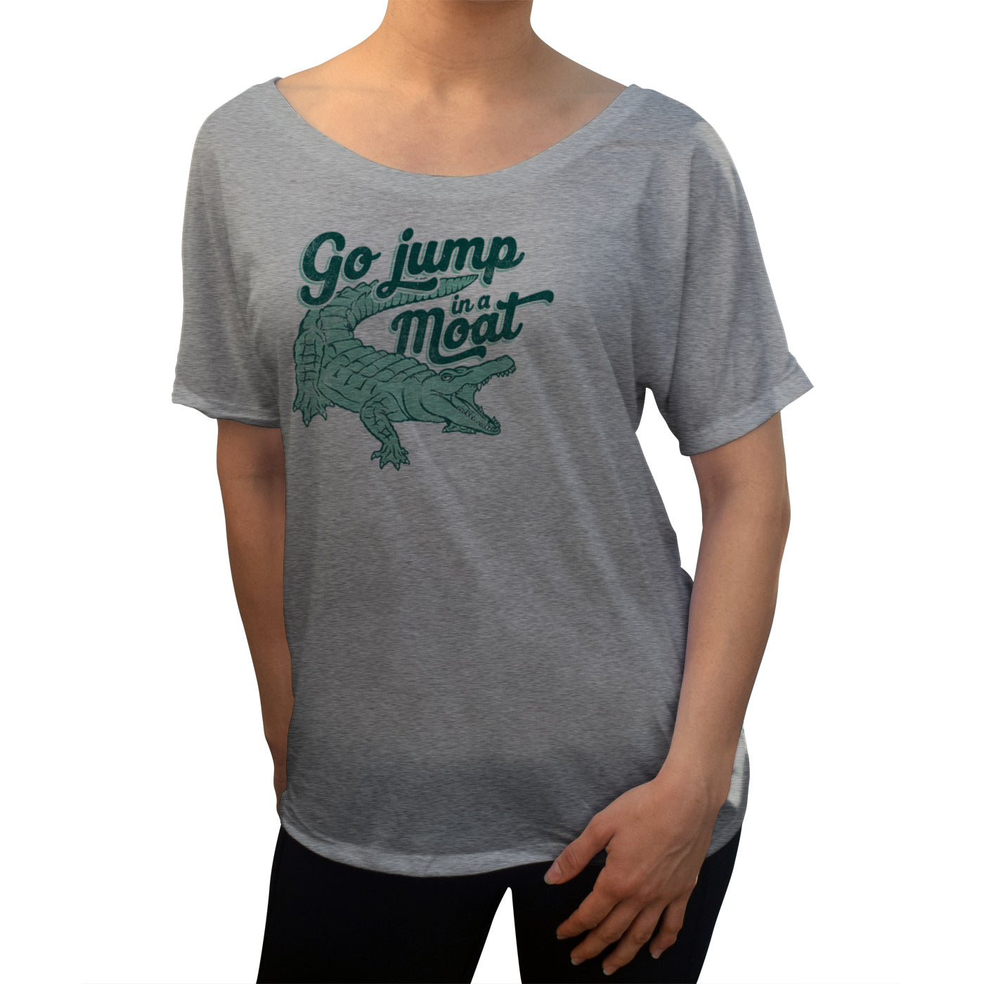 Women's Go Jump in a Moat Alligator Scoop Neck T-Shirt