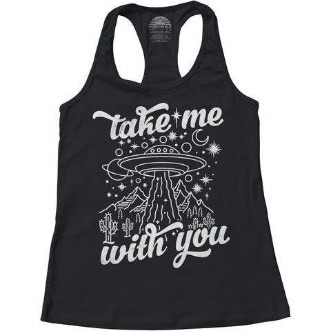 Women's Take Me With You Alien UFO Racerback Tank Top