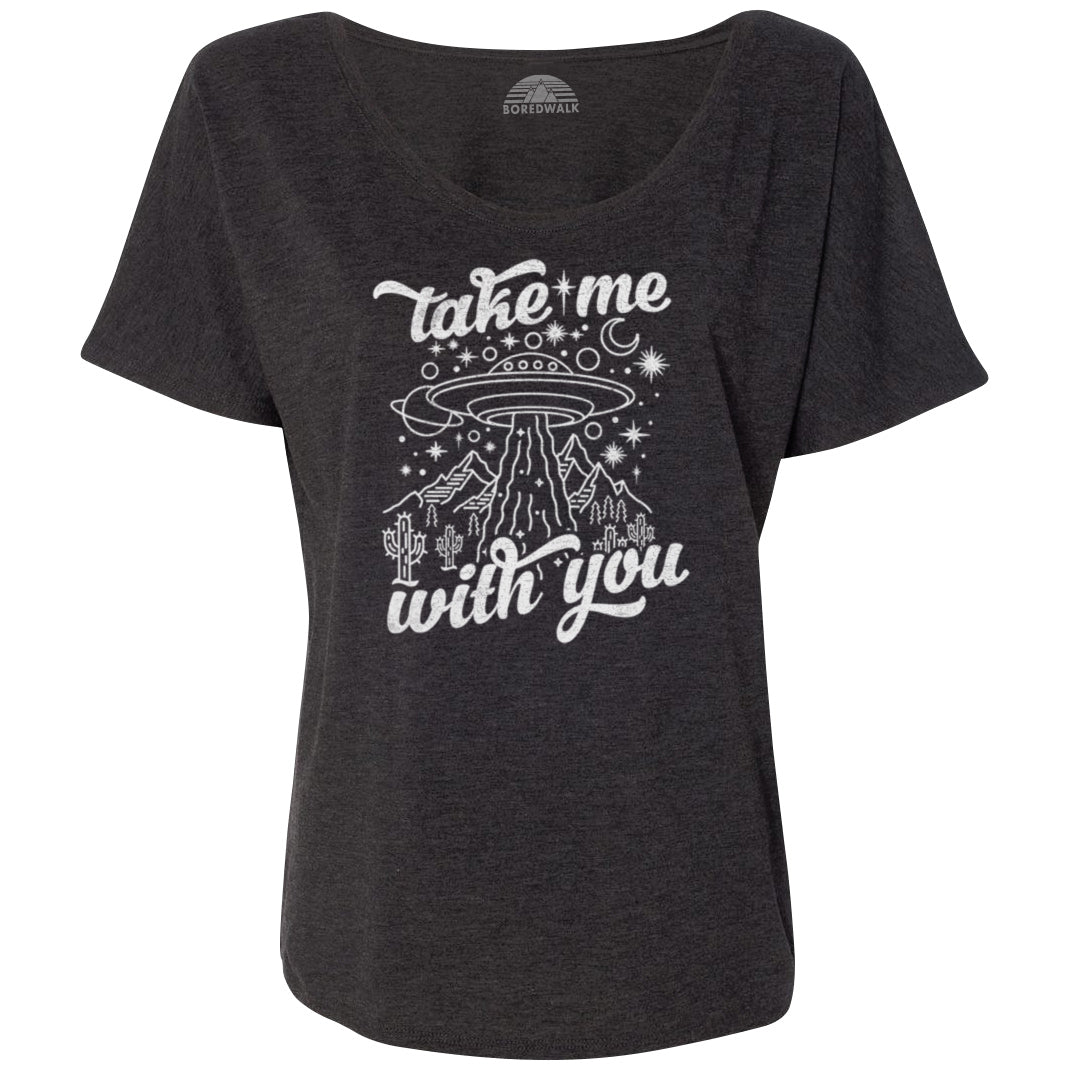 Women's Take Me With You Alien UFO Scoop Neck T-Shirt