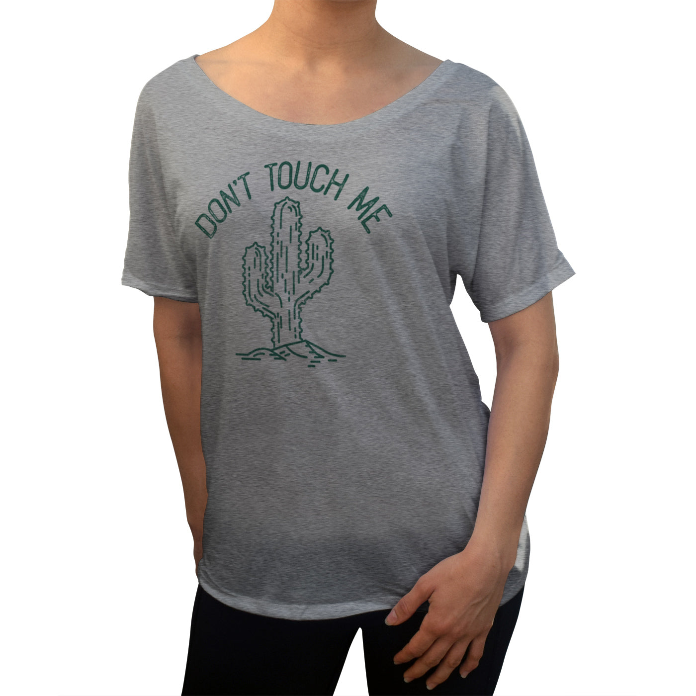 Women's Don't Touch Me Cactus Scoop Neck T-Shirt