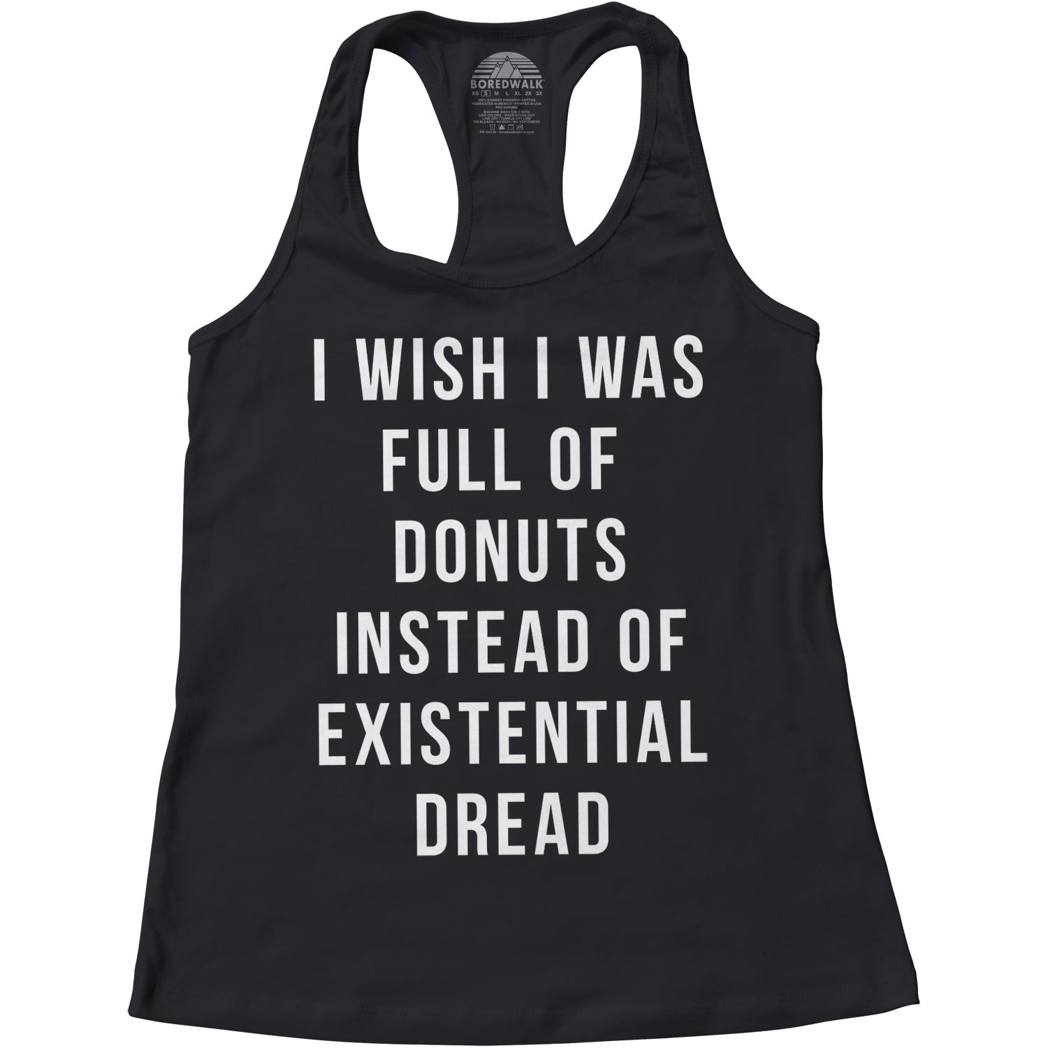 Women's I Wish I Was Full of Donuts Instead of Existential Dread Racerback Tank Top