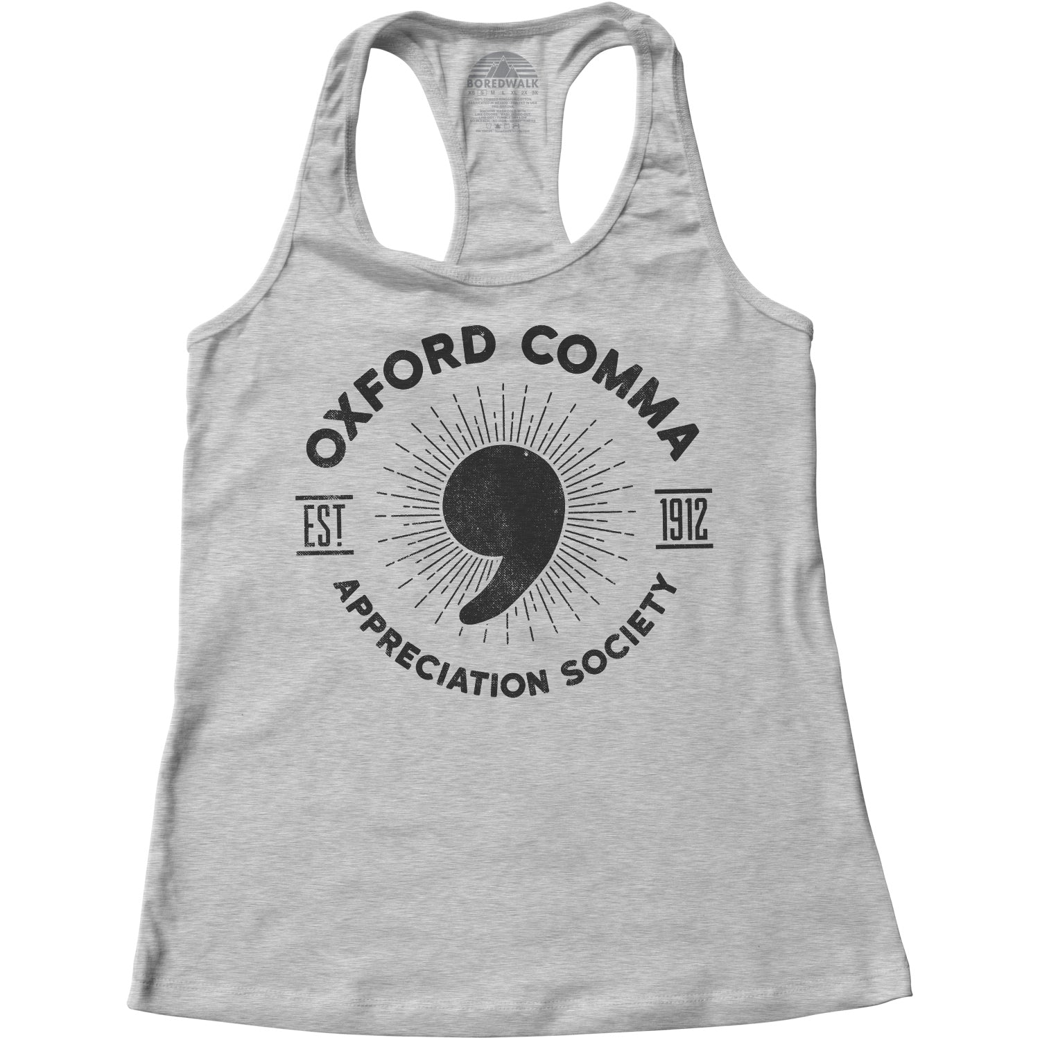 Women's Oxford Comma Appreciation Society Racerback Tank Top