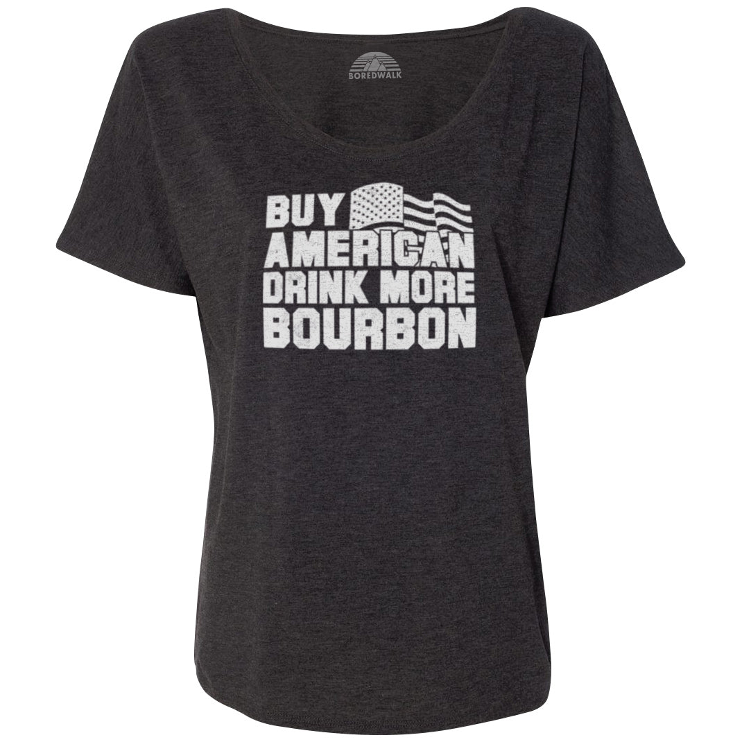 Women's Buy American Drink More Bourbon Scoop Neck T-Shirt