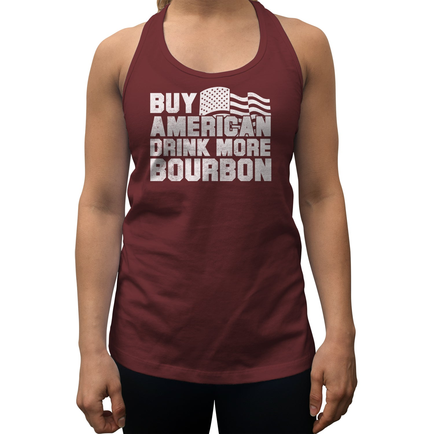 Women's Buy American Drink More Bourbon Racerback Tank Top