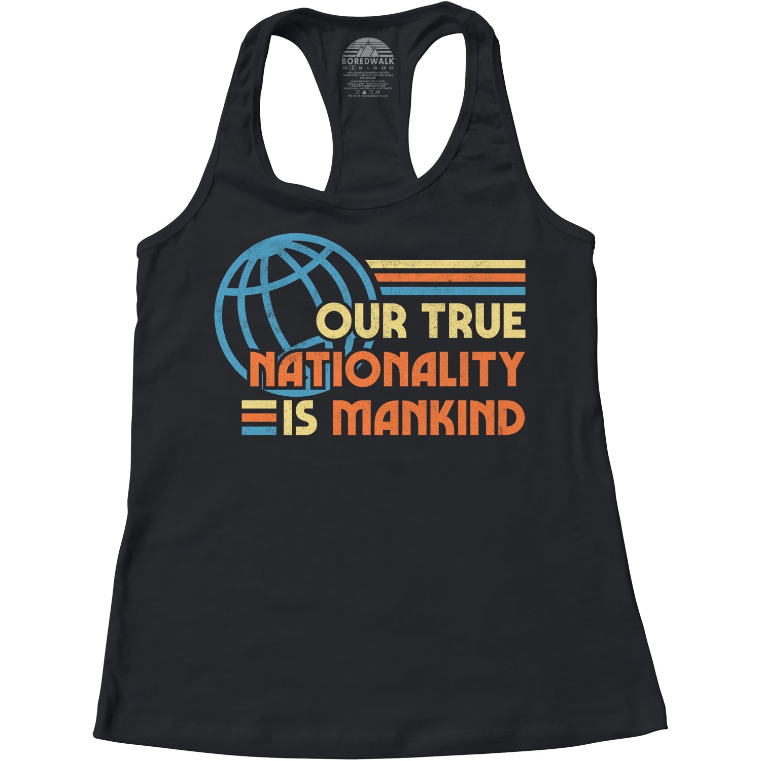Women's Our True Nationality is Mankind Racerback Tank Top