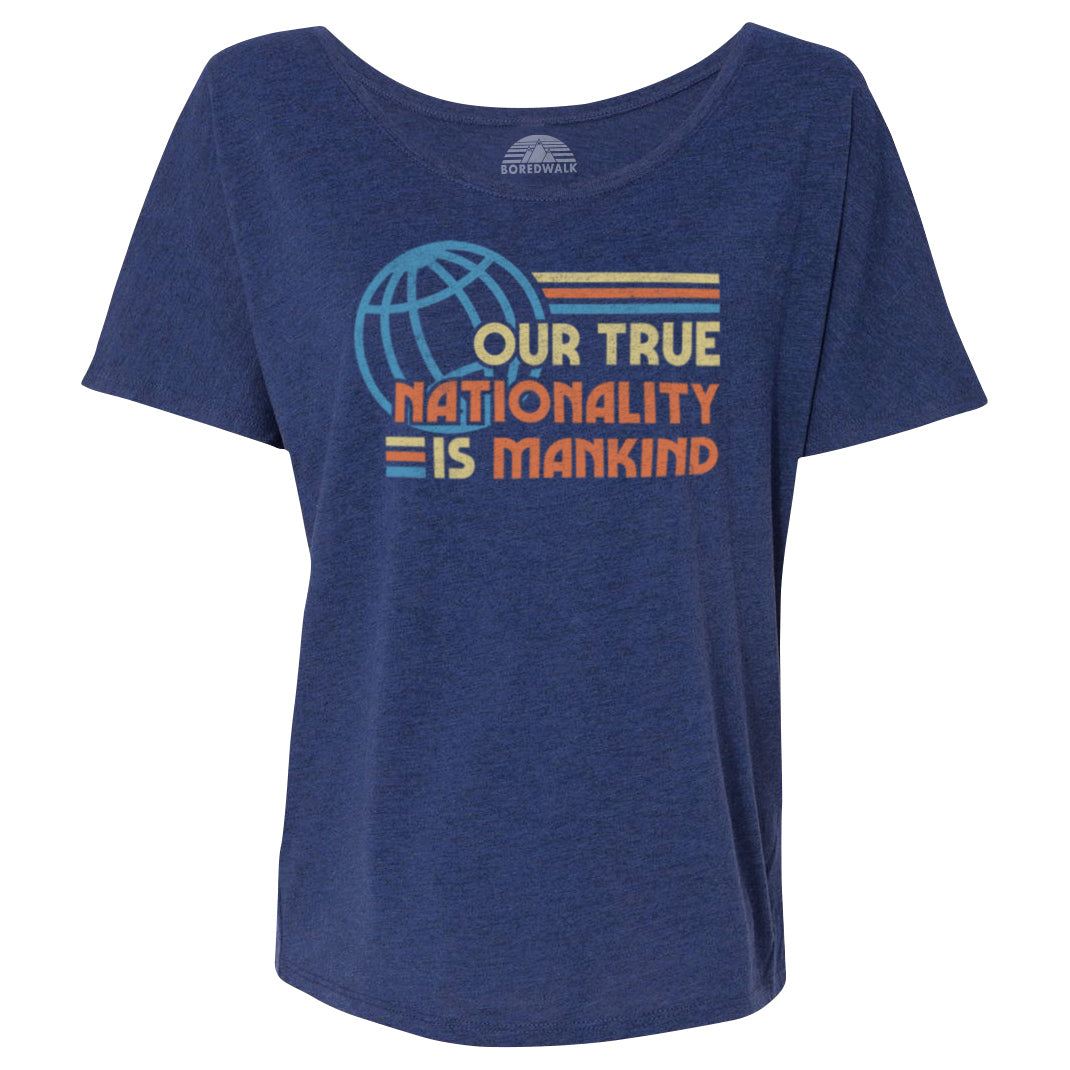 Women's Our True Nationality is Mankind Scoop Neck T-Shirt