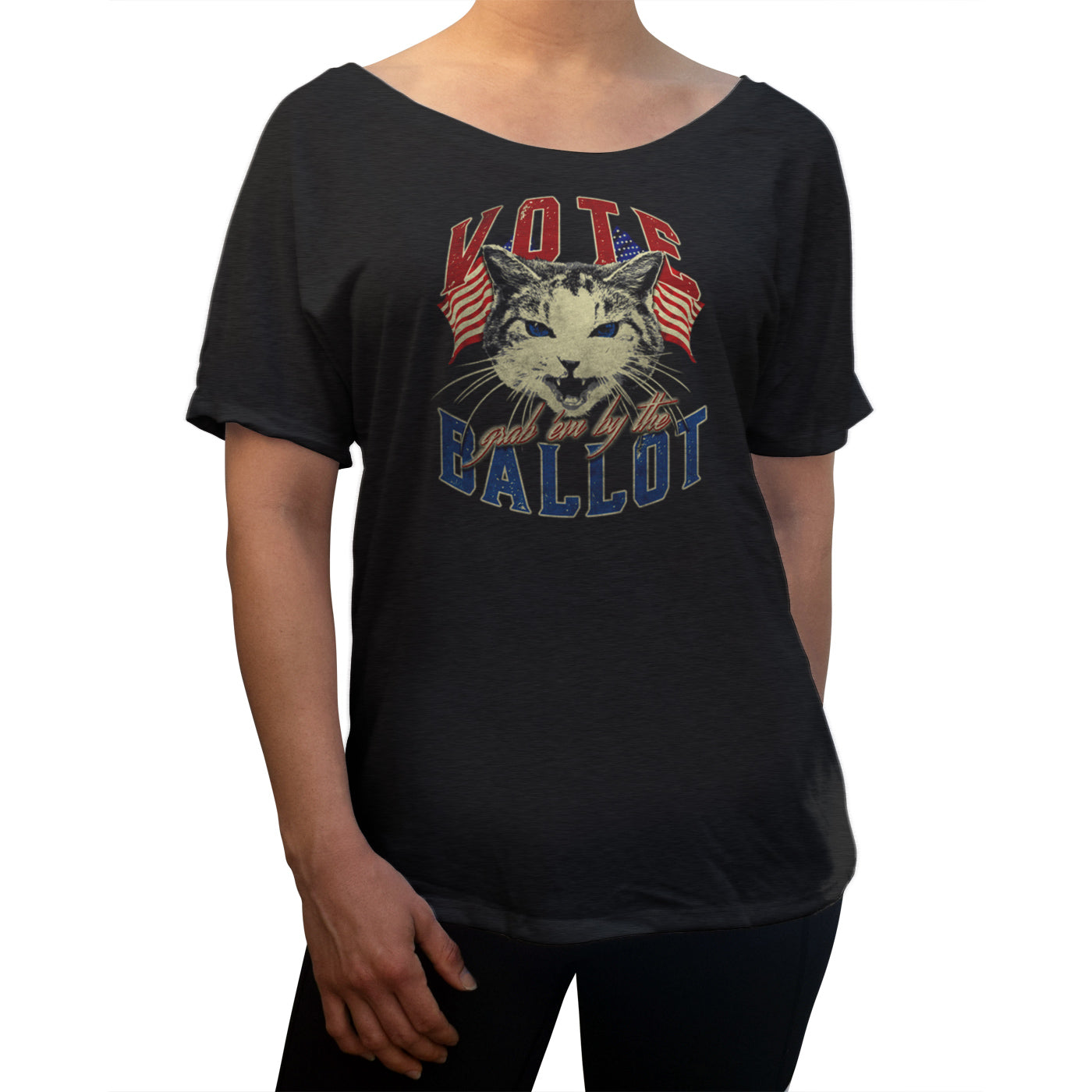Women's Vote! Grab Em By The Ballot Election Cat Scoop Neck T-Shirt