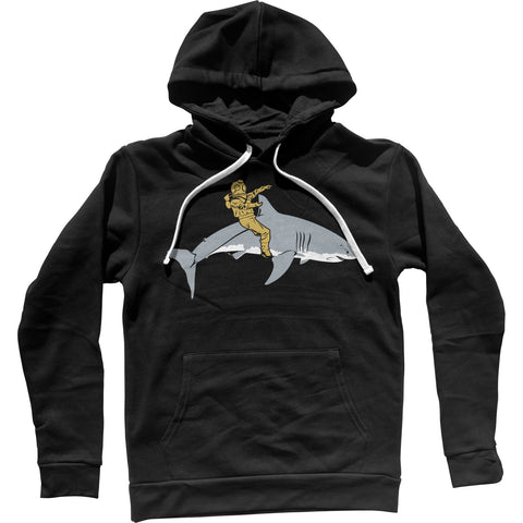 Diver Riding a Shark Unisex Hoodie