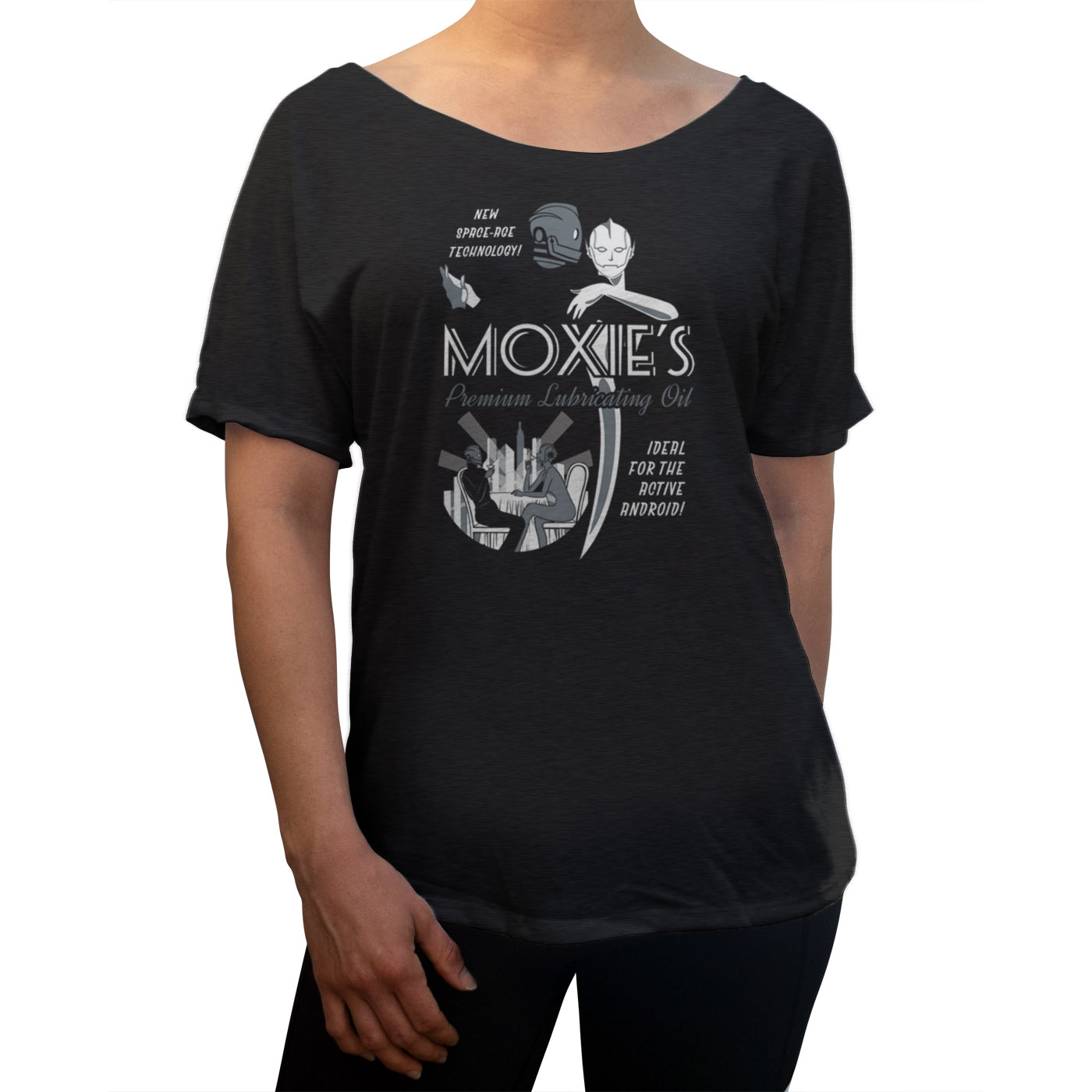 Women's Moxie's Premium Robot Oil Scoop Neck T-Shirt