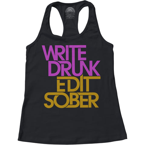 Women's Write Drunk Edit Sober Racerback Tank Top