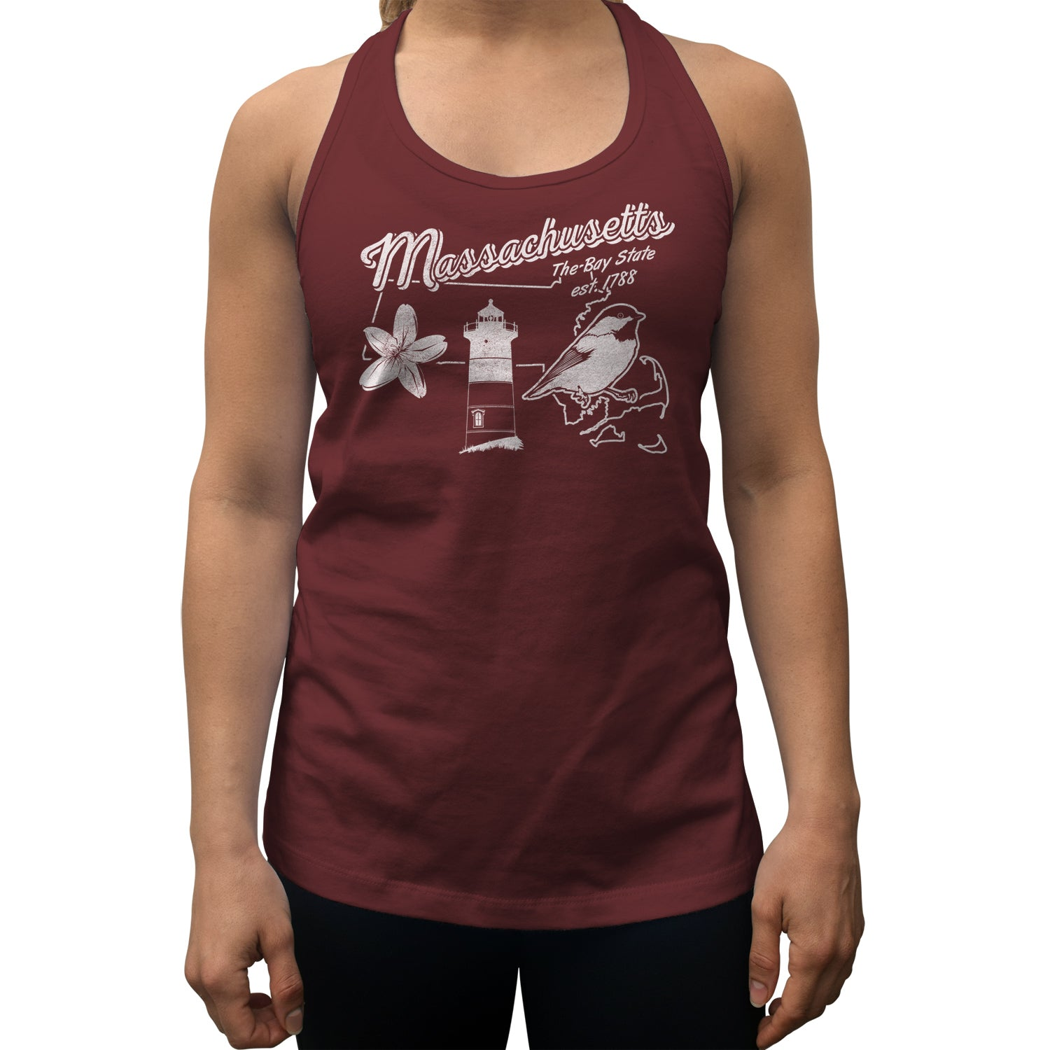 Women's Vintage Massachusetts Racerback Tank Top