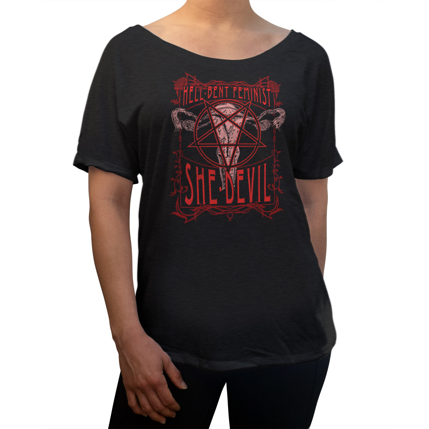 Women's Hell-Bent Feminist She-Devil Scoop Neck T-Shirt