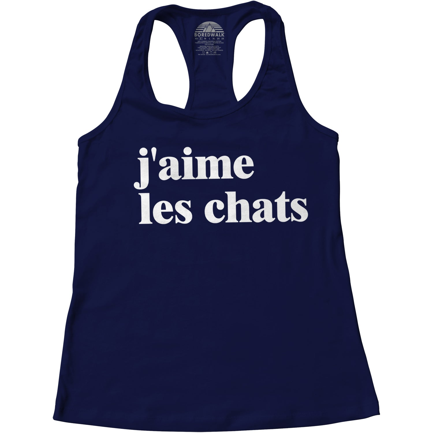 Women's J'aime Les Chats French I Love Cats Racerback Tank Top