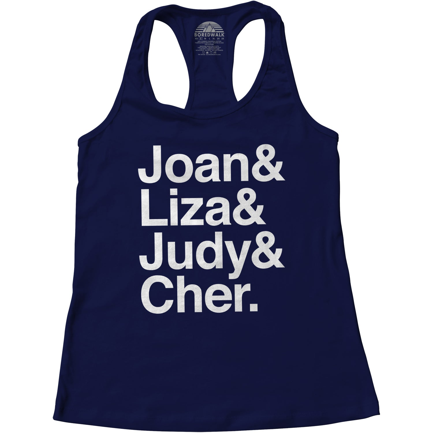Women's Joan Liza Judy Cher Gay Icon Racerback Tank Top