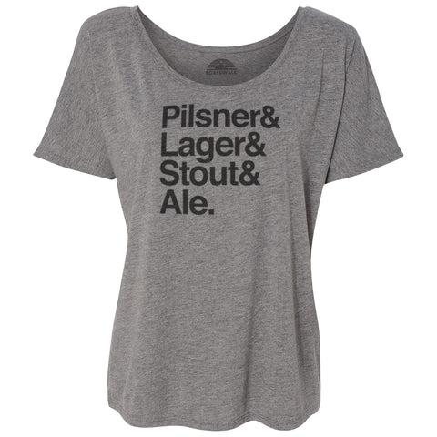 Women's Lager And Stout And Pilsner And Ale Beer Scoop Neck T-Shirt