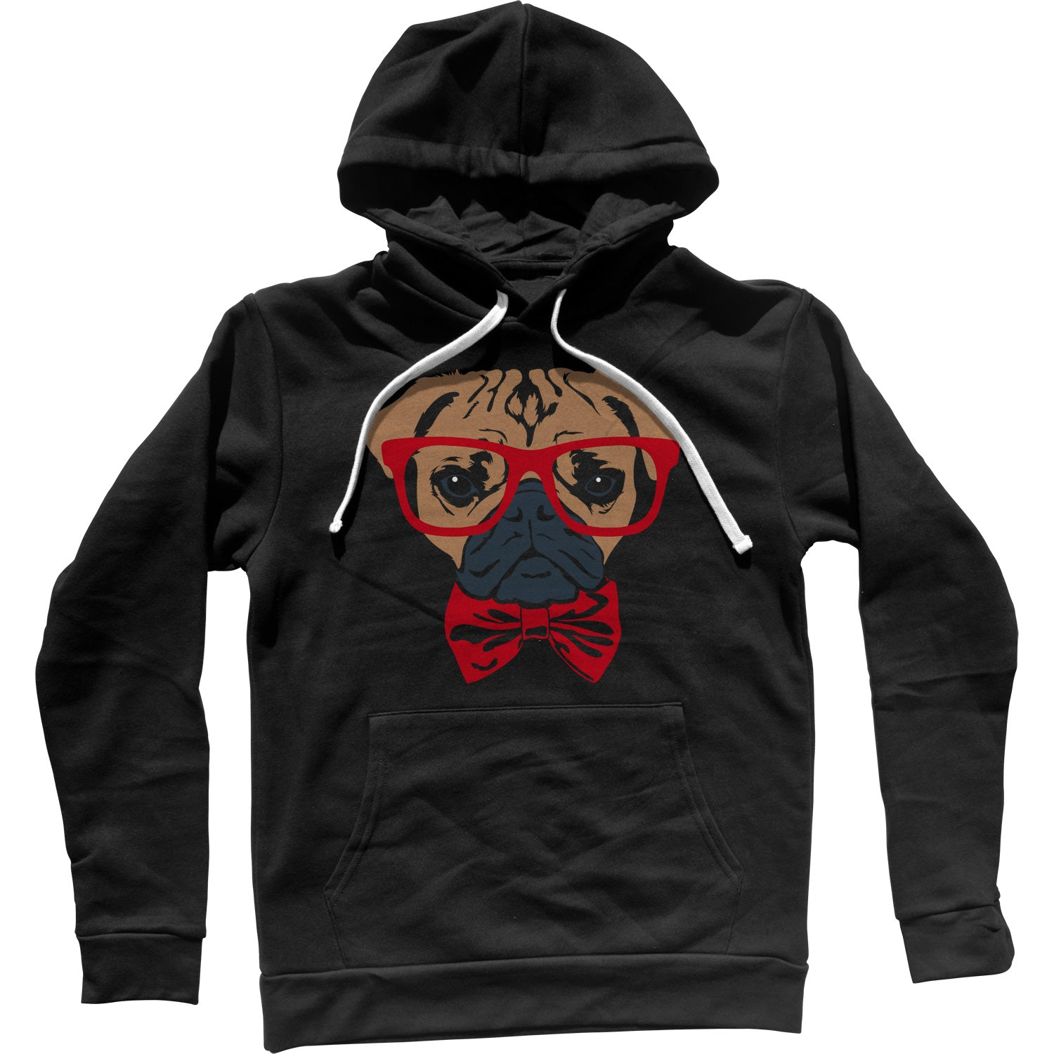 Bowtie And Glasses On A Pug Unisex Hoodie