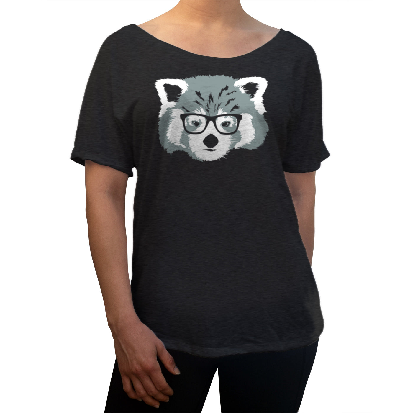 Women's Red Panda With Glasses Scoop Neck T-Shirt