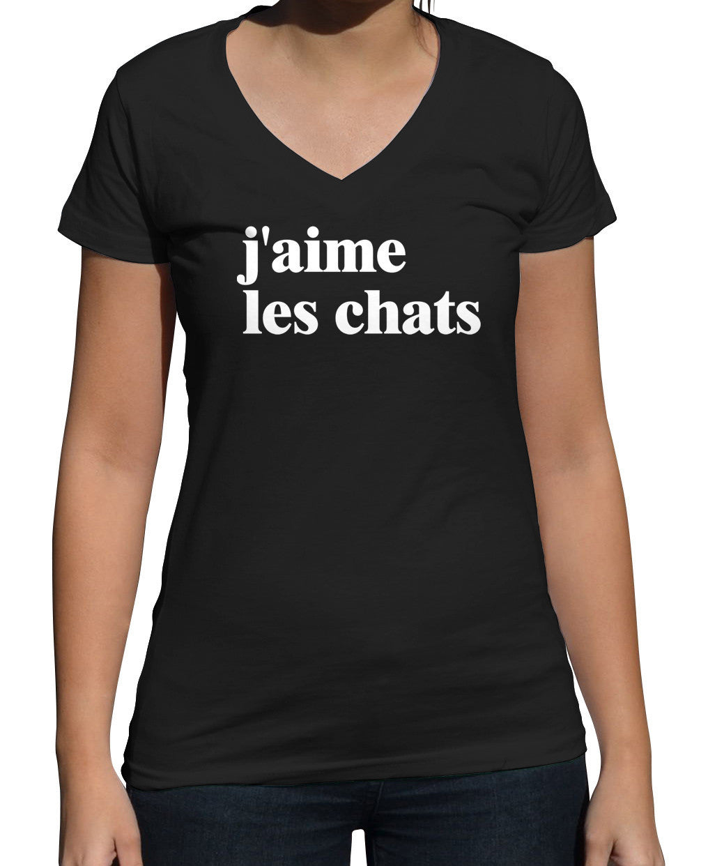 Women's J'aime Les Chats Vneck French I Love Cats T-Shirt