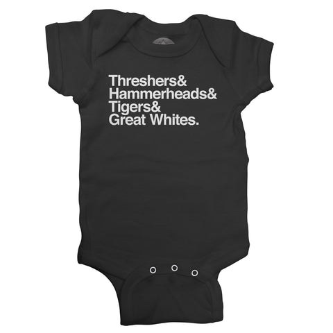 Threshers and Hammerheads and Tigers and Great Whites Shark Infant Bodysuit - Unisex Fit
