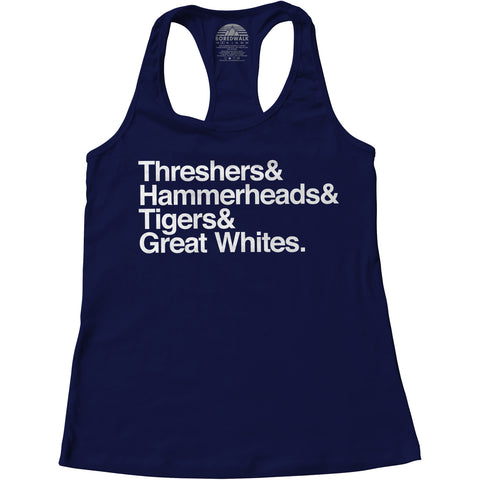 Women's Threshers And Hammerheads And Tigers And Great Whites Shark Racerback Tank Top