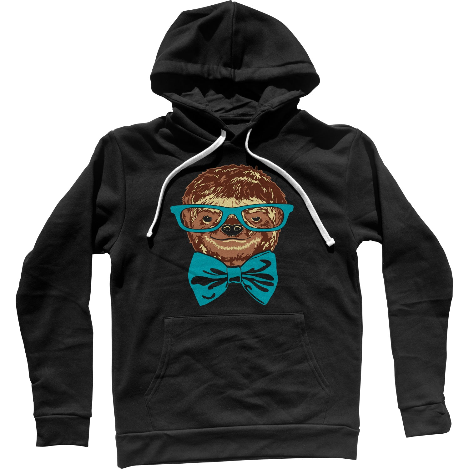Glasses and Bowtie on a Sloth Unisex Hoodie