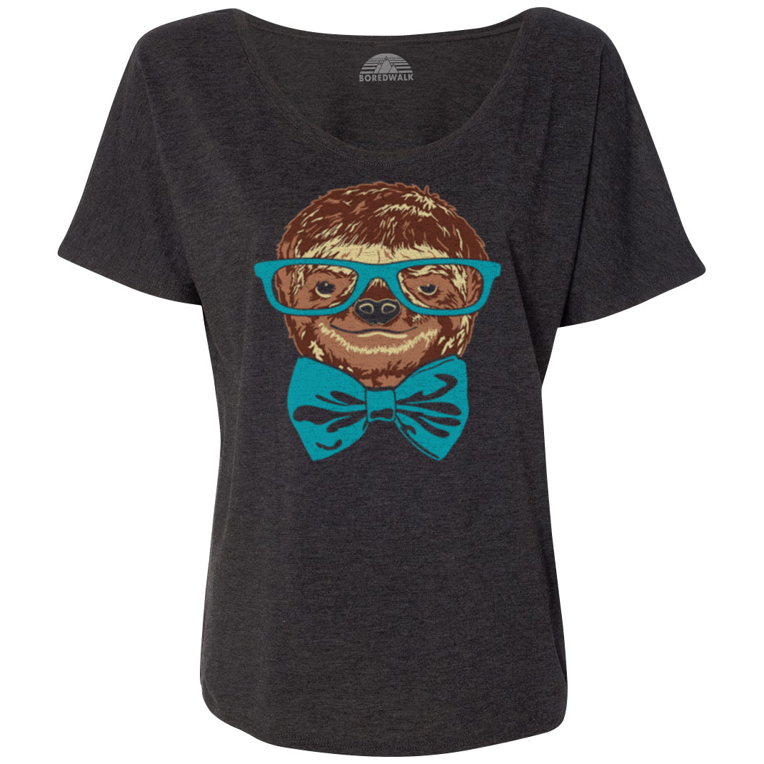 Women's Glasses and Bowtie on a Sloth Scoop Neck T-Shirt