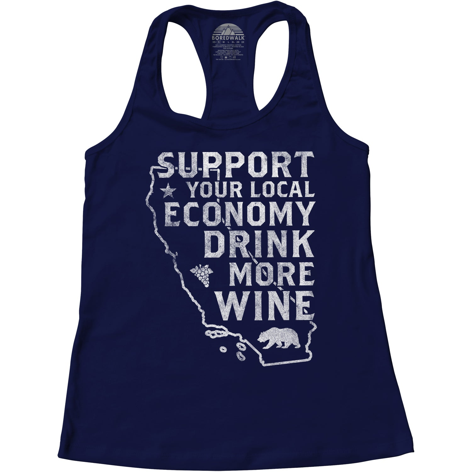 Women's Support Your Local Economy Drink More Wine California Racerback Tank Top
