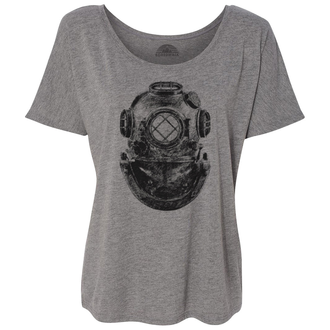 Women's Vintage Diver Helmet Steampunk Scoop Neck T-Shirt