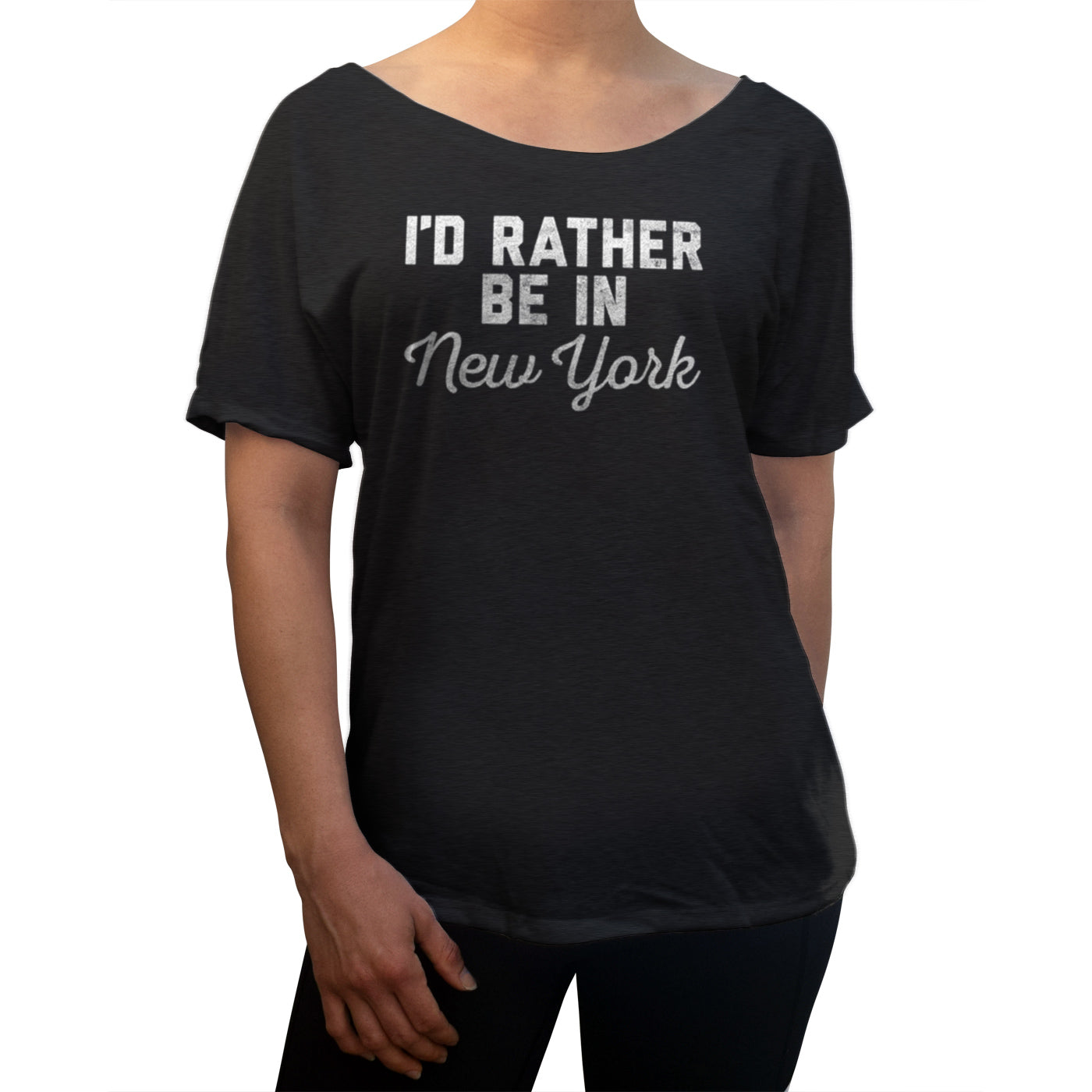 Women's I'd Rather Be in New York Scoop Neck T-Shirt