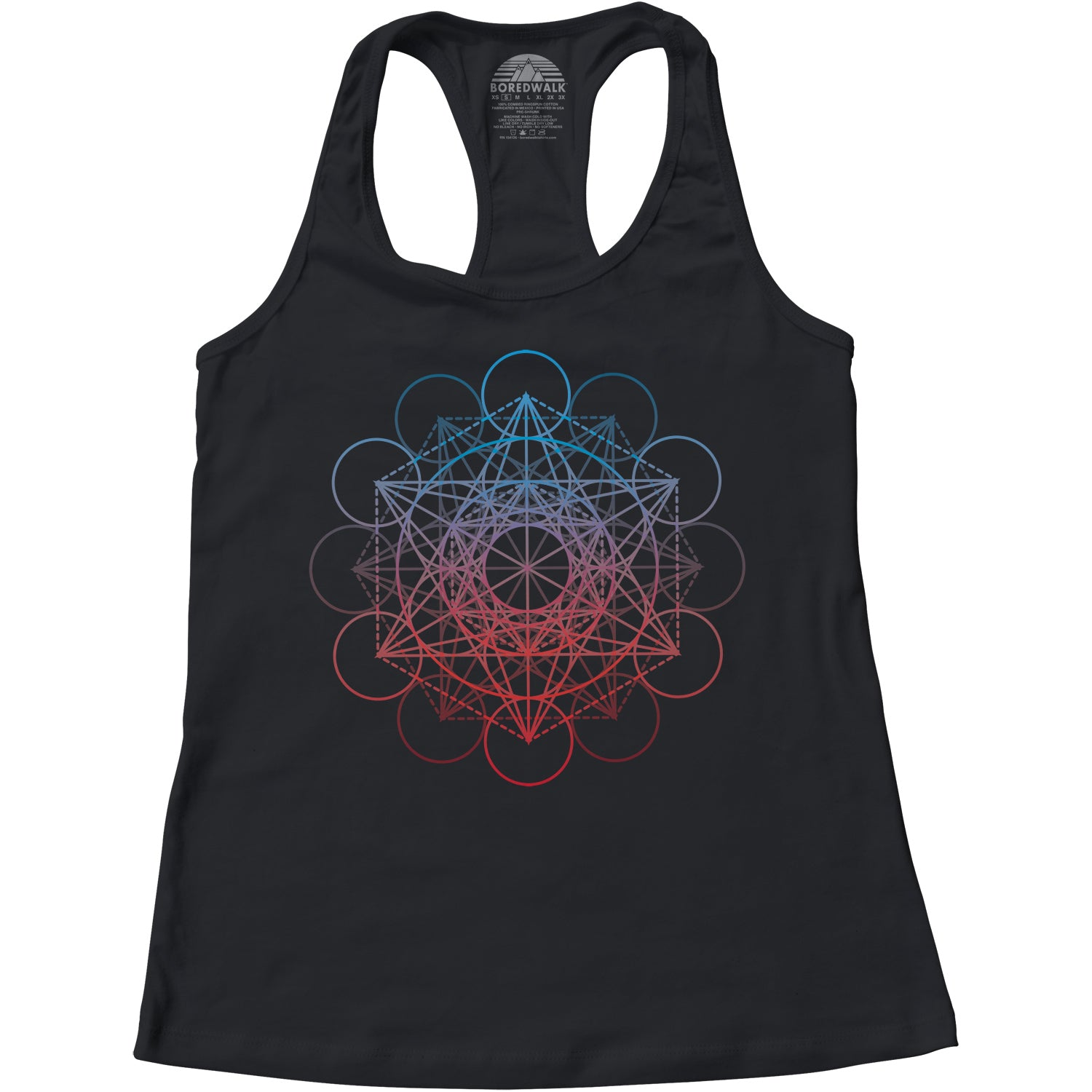 Women's Metatrons Cube Rainbow Racerback Tank Top