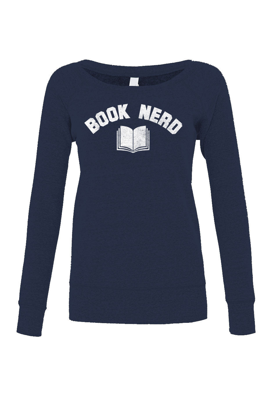 Women's Book Nerd Vintage Scoop Neck Fleece Geeky Nerdy Literary