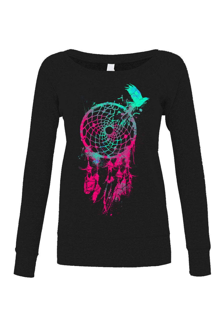 Women's DreamCatcher and Bird Scoop Neck Fleece