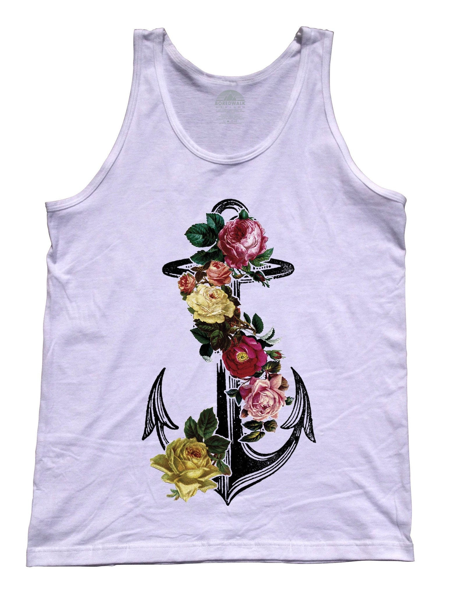 Unisex Floral Anchor Tank Top Tattoo Vintage Nautical Feminine Tank Top