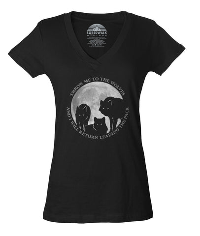 Women's Throw Me To The Wolves And I Will Return Leading The Pack Vneck T-Shirt