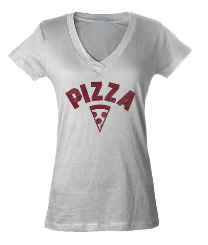 Women's Team Pizza Vneck T-Shirt Vintage Retro Athletic Logo Inspired