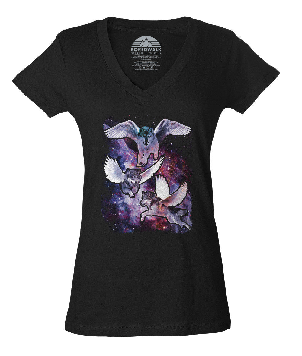 Women's Wolves With Wings in Space Vneck T-Shirt