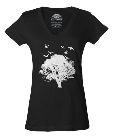 Women's Tree And Birds Vneck T-Shirt - Juniors Fit