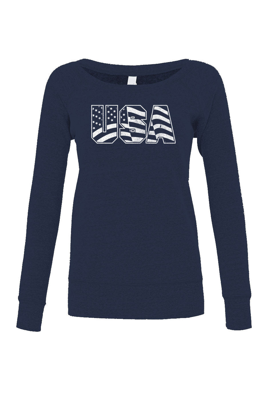 Women's USA Scoop Neck Fleece America Patriotic