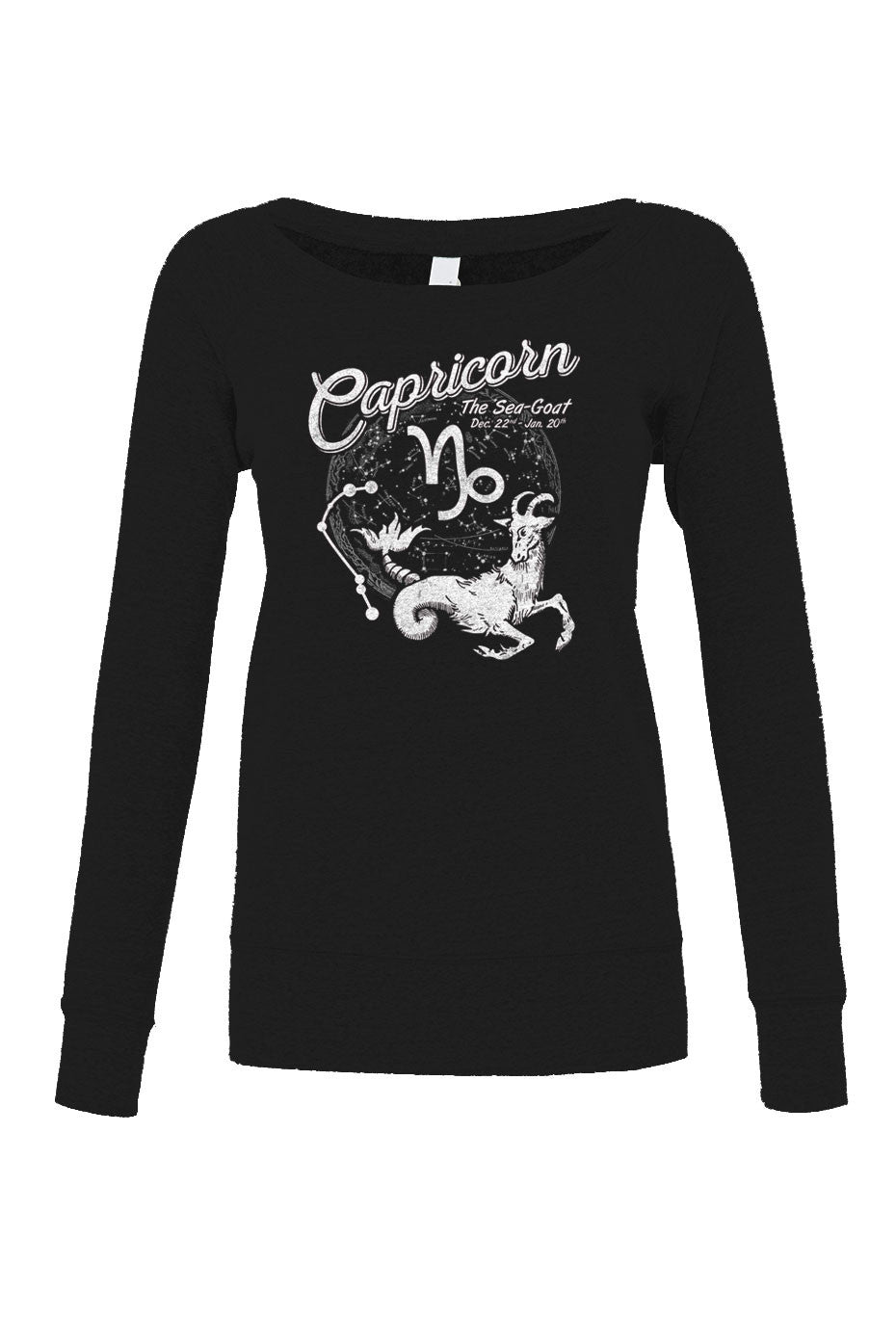Women's Vintage Capricorn Scoop Neck Fleece - Juniors Fit