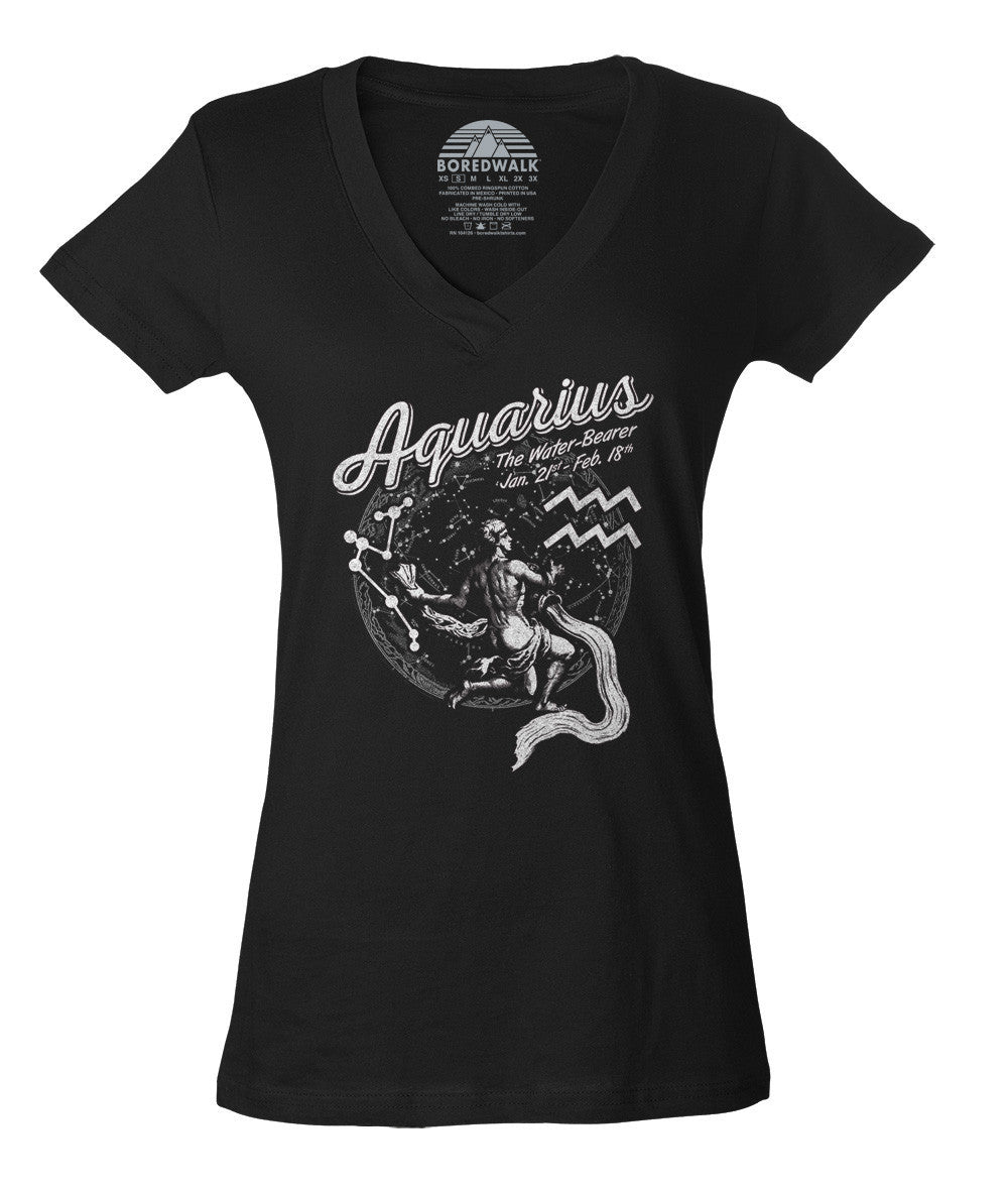 Women's Vintage Aquarius Vneck T-Shirt - Juniors Fit