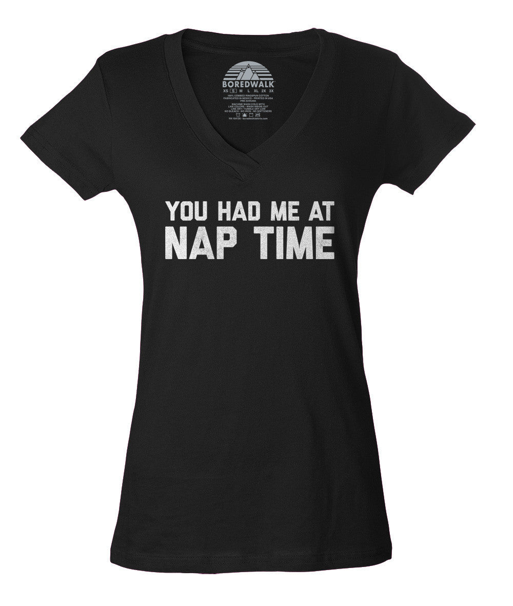 Women's You Had Me At Nap Time Vneck T-Shirt